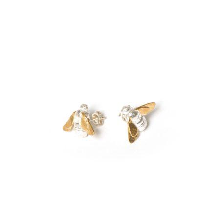 Gold Silver Stud Bee earrings