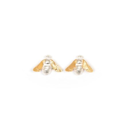 Silver and Gold Stud Bee Earrings v2 (1)