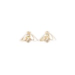 Solid Silver Stud bee earring v2 (1)